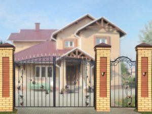 """Ворота """"Дачные арочные с лозой"""""""