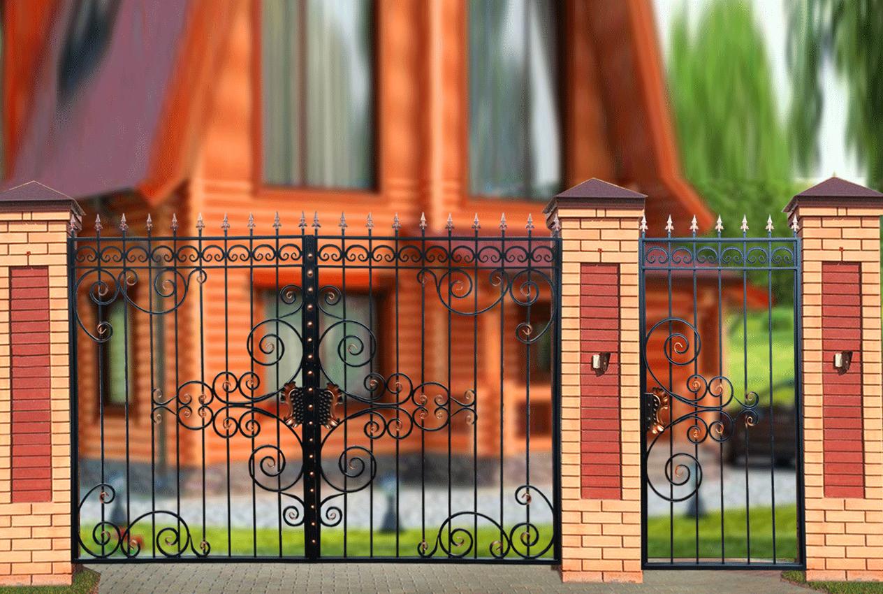 Фото железных ворот и забора доме есть