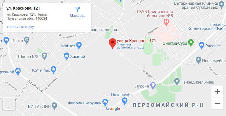карта проезда по улице Краснова